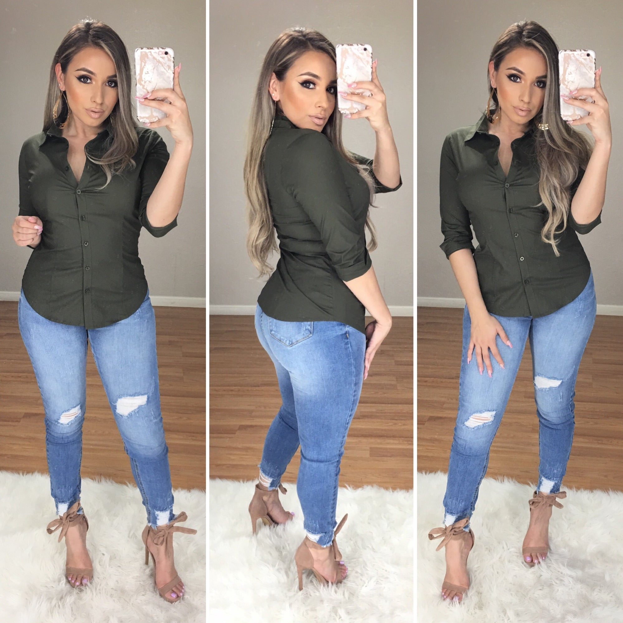 Always Good Button Up Top (Olive)
