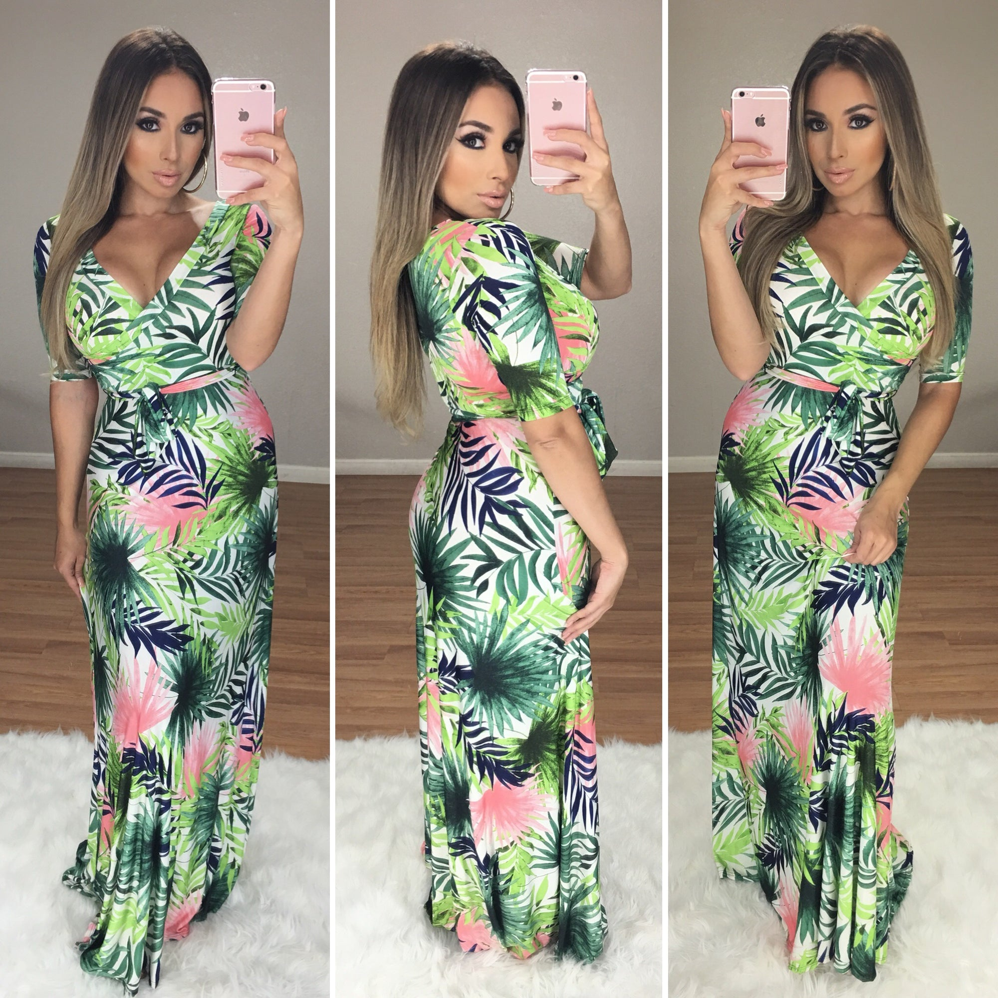 On to the Next Maxi Dress (Green Leaf Print)