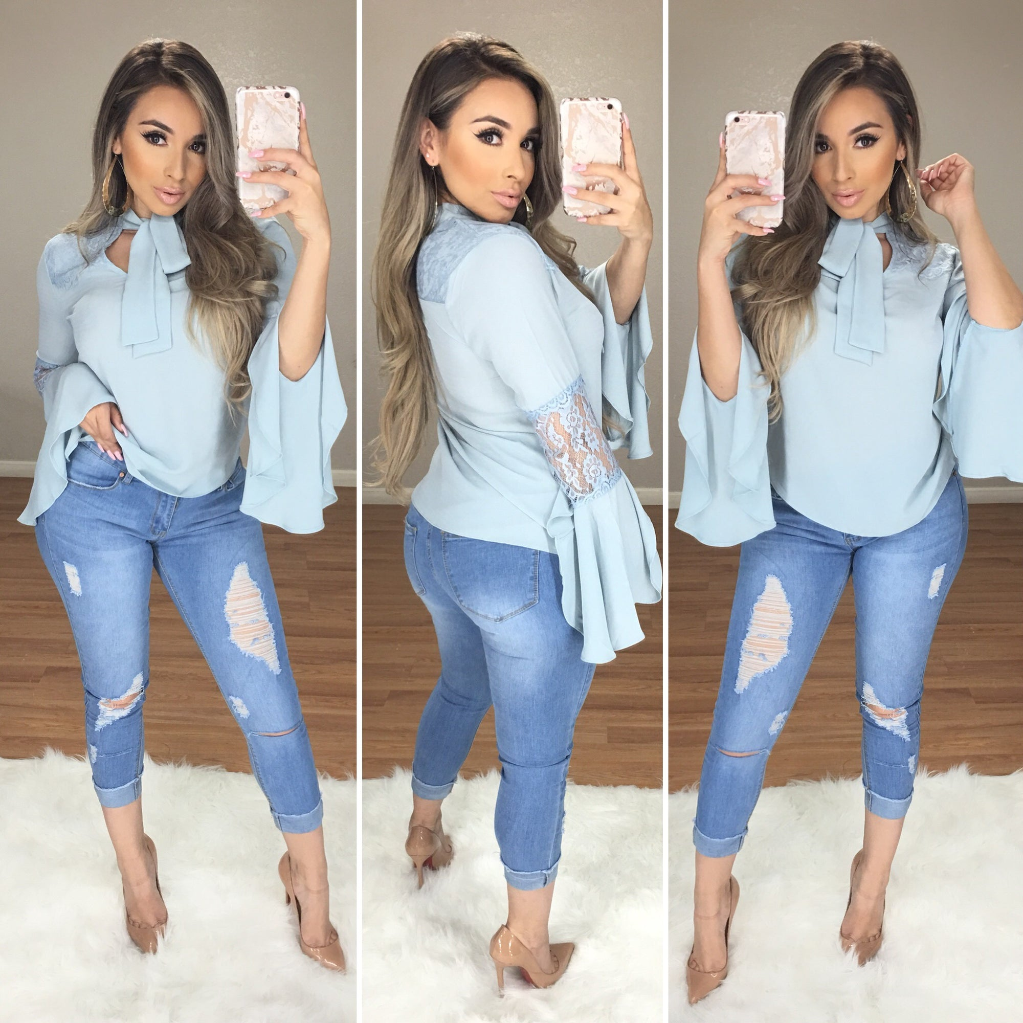 Kiss Me Twice Classy Top (Baby Blue)