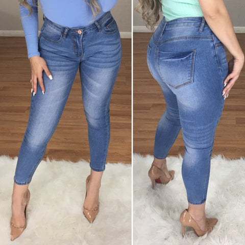 Carter High Waist Crop Jeans (Light Wash)