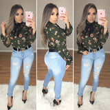 Alyssa Classy Top (Olive/Floral)
