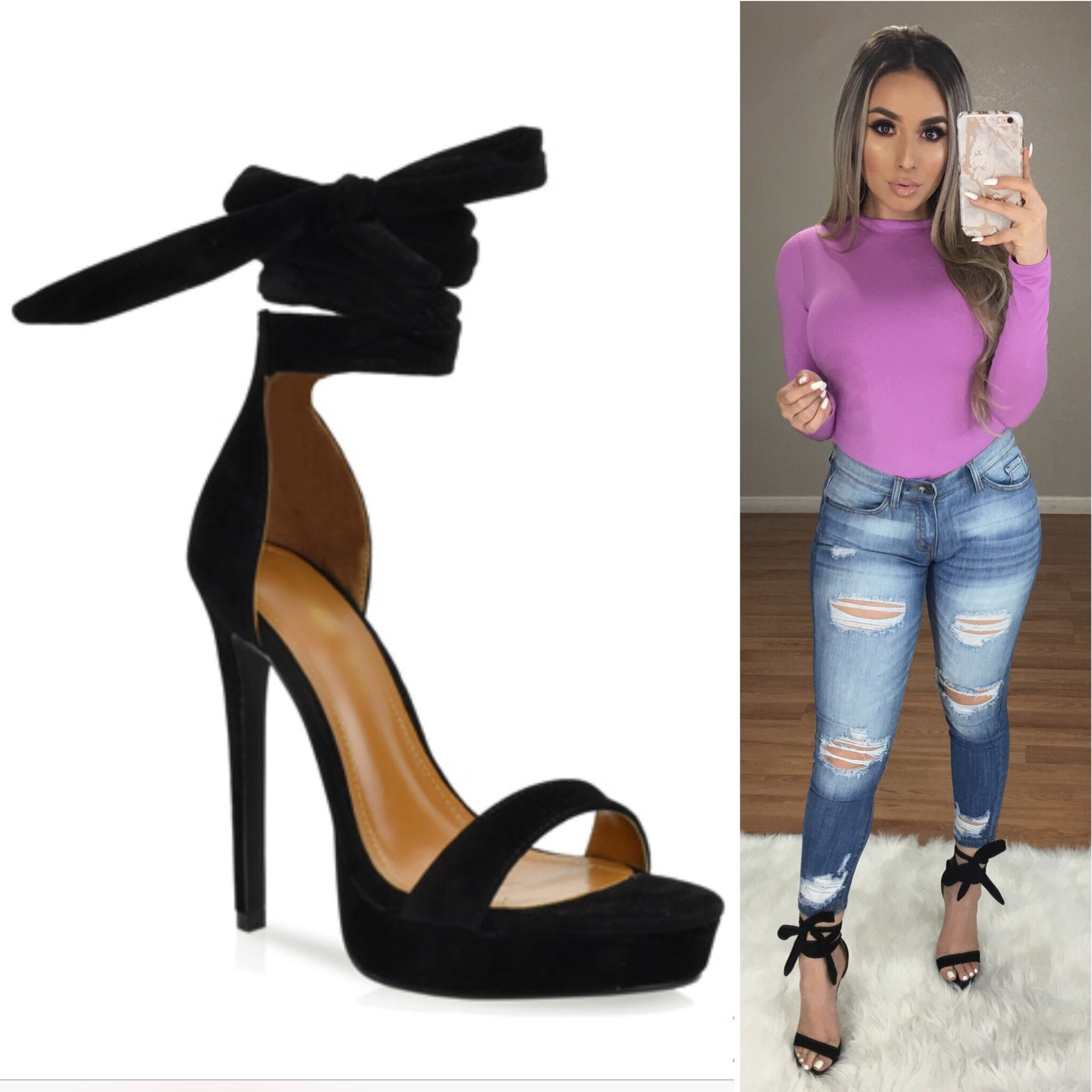 Lavish Wrap Up Heels (Black Suede)