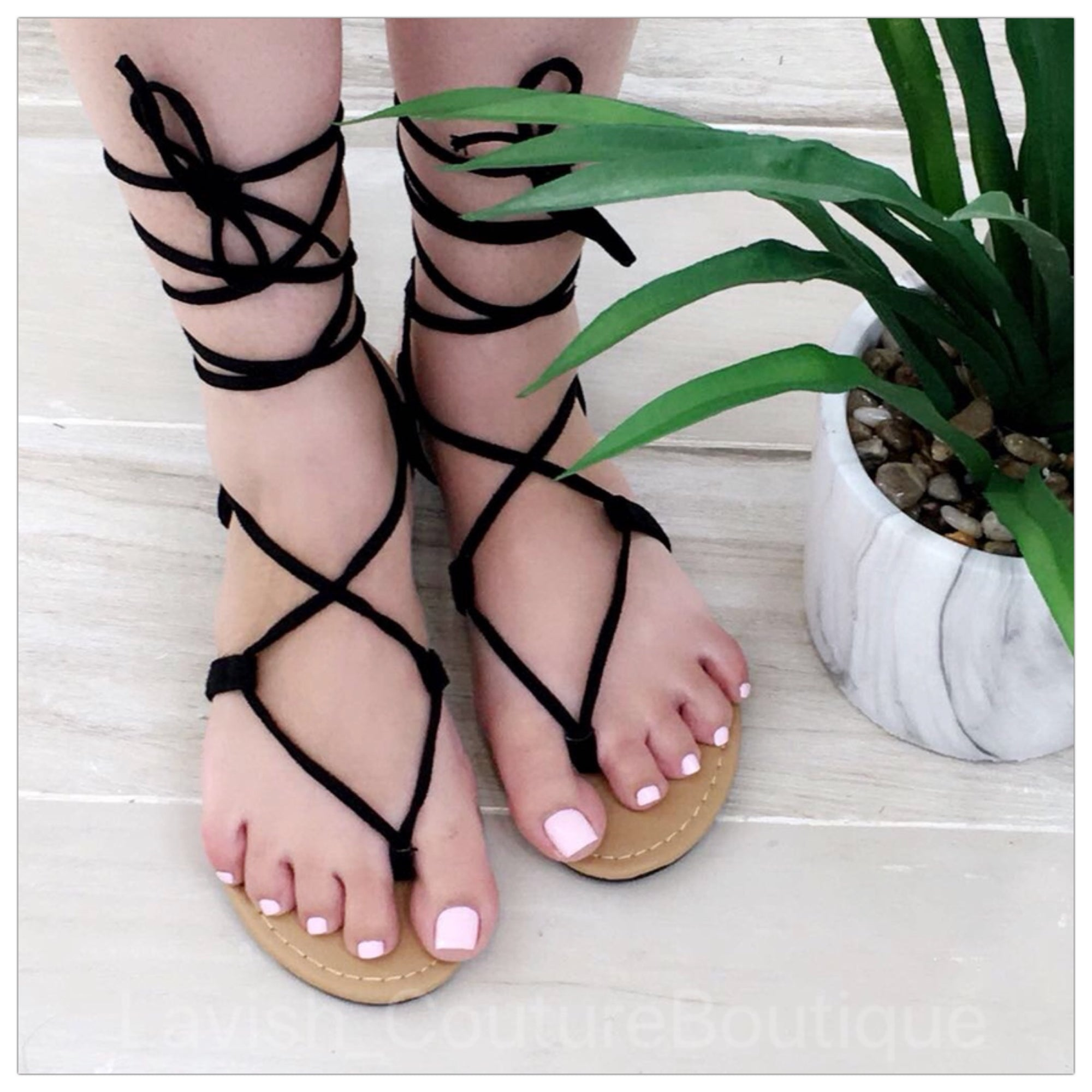 Laced Up Sandals (Black)