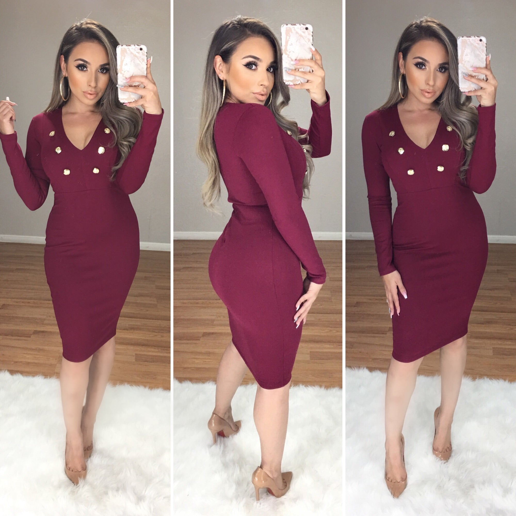 Affinity Couture Midi Dress (Burgundy)