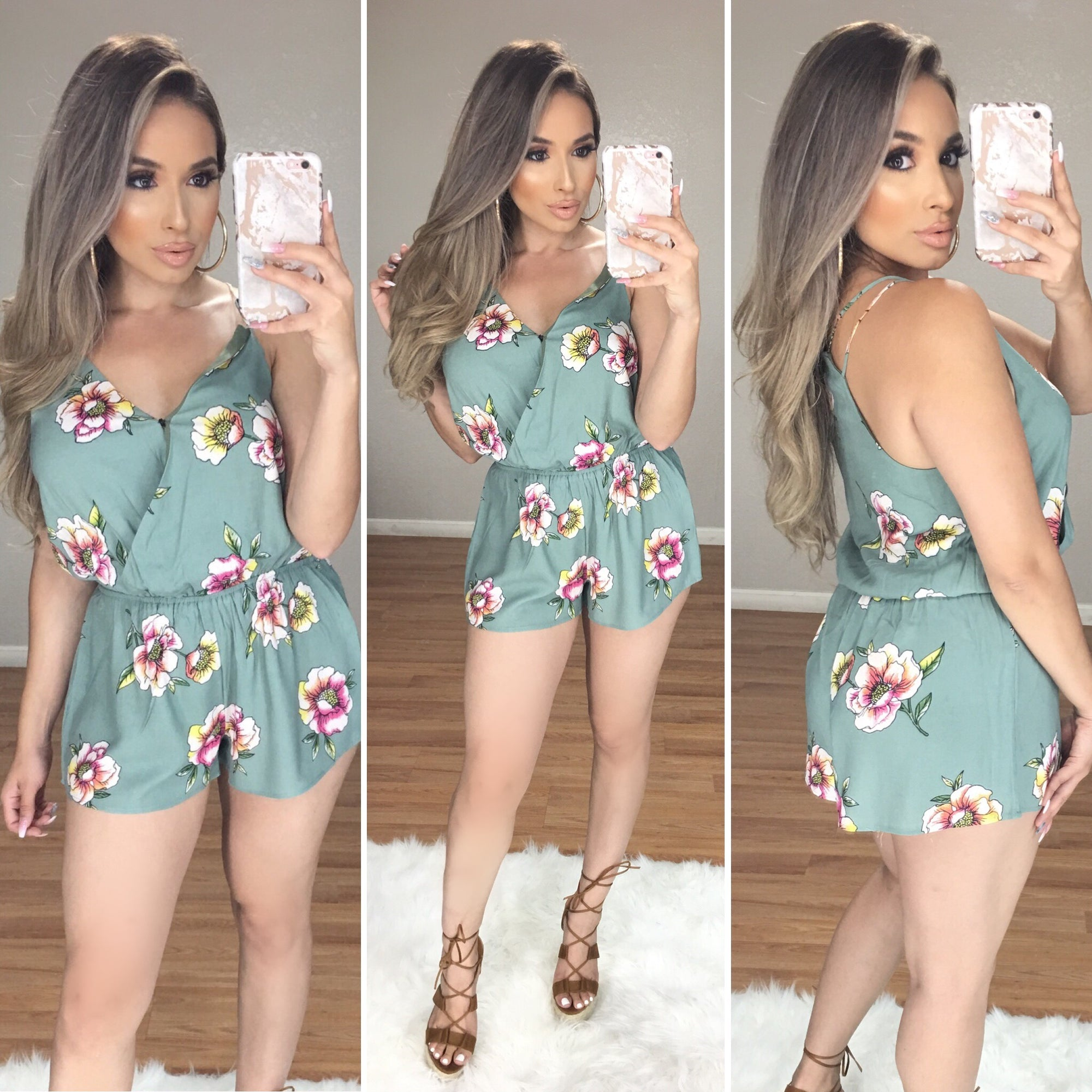 Miami Vibes Floral Romper (Olive)