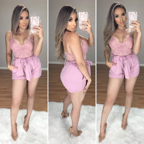 Boss Babe High Waist Shorts (Mauve)