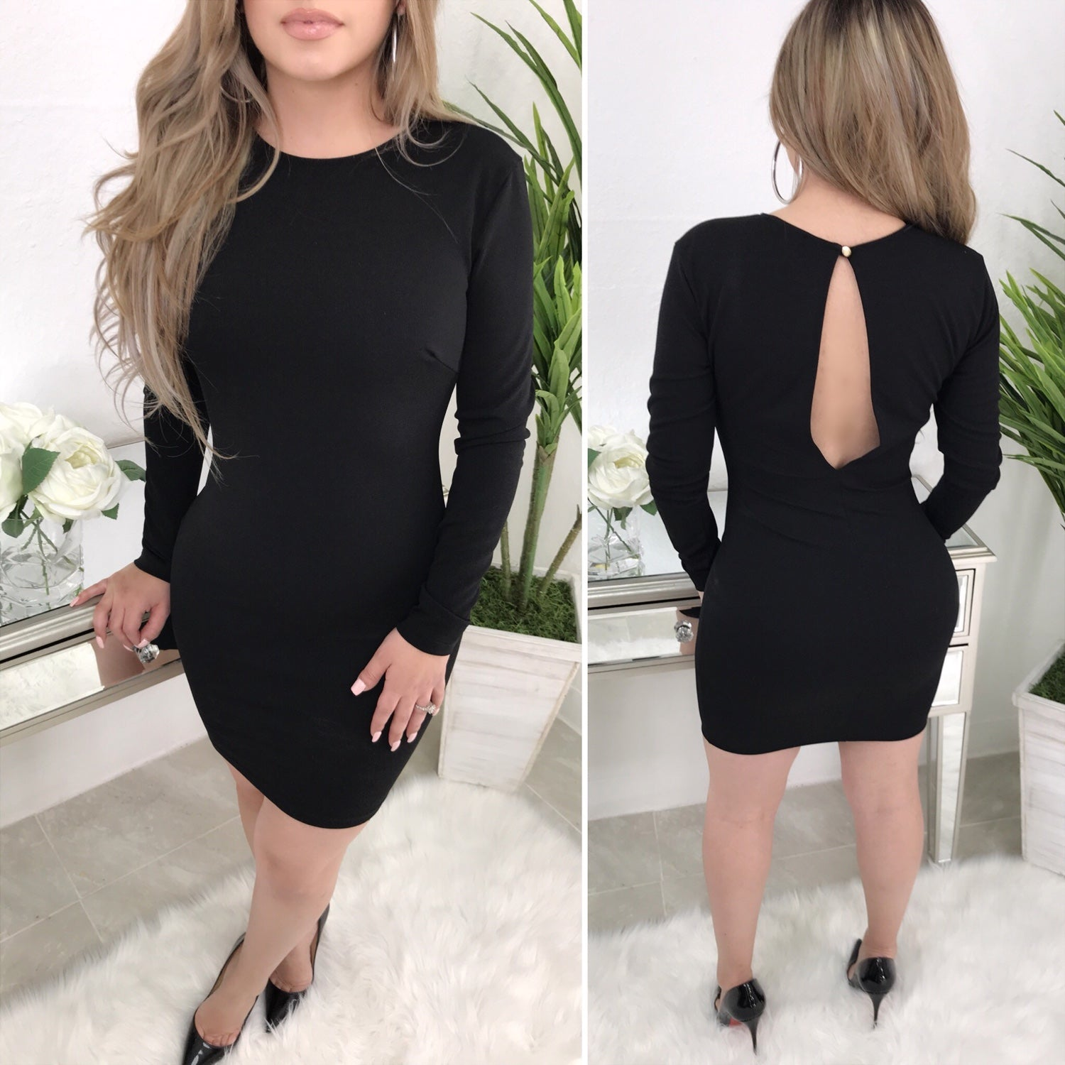 Infinity Long Sleeve Couture Dress (Black)
