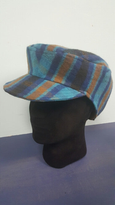 Handmade Wool Plaid Driver Cap/ Hat. Fits Dreadlocks! XXL