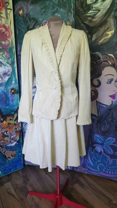 B. Clemo Ltd. By Rico Chan: Vintage Handmade Butter cream  Suede Suit Sz 12