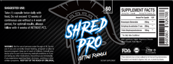 Shred Pro Stack 減量用プロホルモンスタック (Shred Pro x1, Engage x1, Retreat x1, Eliminate x1)