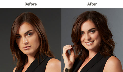 Before and After using the LumaBella Dual Touch Styler