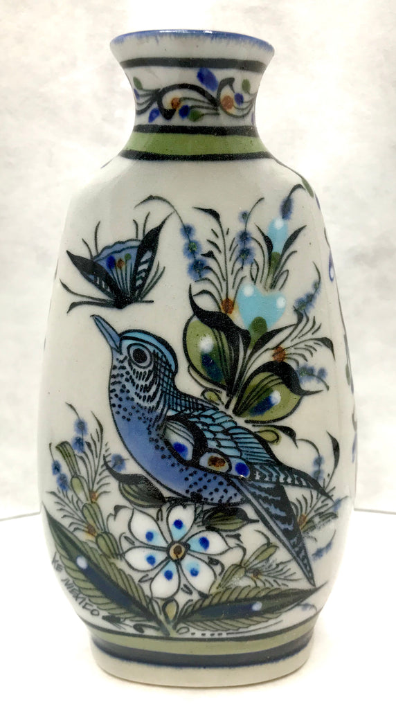 tall vase with bird and butterfly