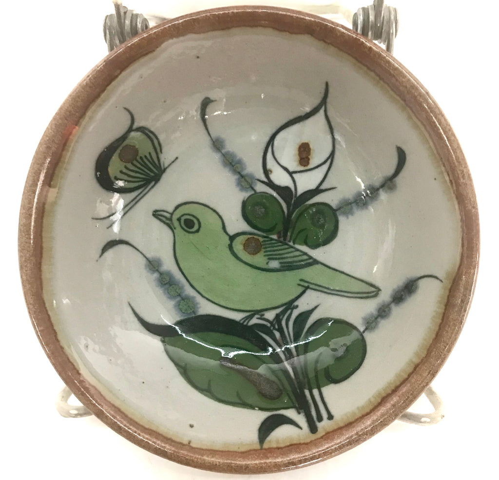 Ken Edwards Pottery bowl with a bird, butterfly and flower