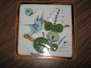 Ken Edwards Tile, small with bird, butterfly and plants