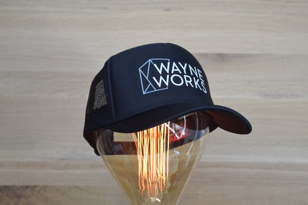 Wayne Works Logo Mesh Trucker Snapback Hat - Black