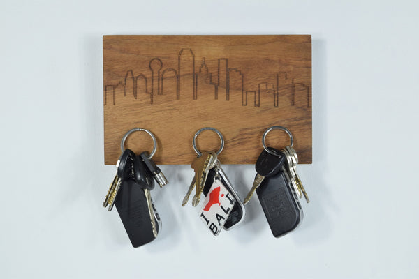 Modern Magnetic Key Hanger - Dallas Skyline