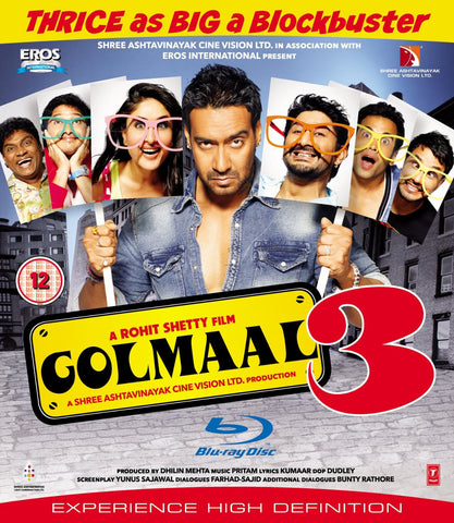 Buy Golmaal-3 : Bollywood BLURAY DVD online for USD 11.25 at alldesineeds