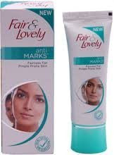 2 X Fair & and Lovely Anti Marks Fairness Cream for Pimple Prone Blemish-less