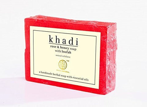 3 Pack Khadi Rose & Honey soap with loofah 100 gms each (total of 300 gms) - alldesineeds