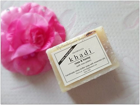 3 Pack Khadi Rose Honey With Rose Petals Soap 100 gms each (total of 300 gms) - alldesineeds