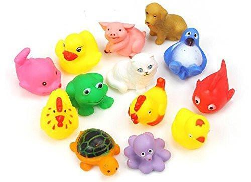 8pcs Random Lovely Rubber Squeaky Animal Bath Toys/floating Fun for Baby - alldesineeds