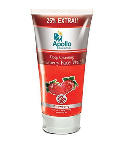 Buy Apollo Pharmacy Facewash Strawberry 60ml X 2 (Pack Of 2) online for USD 20.51 at alldesineeds