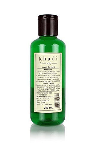 2 X Khadi Neem & Tulsi Face & Body Wash - Anti Acne (210 Ml) Pack of 2 - alldesineeds