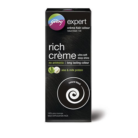 Godrej Expert Rich Crème Hair Colour, Natural Black, 62g+50ml (Multi Application Pack) - alldesineeds