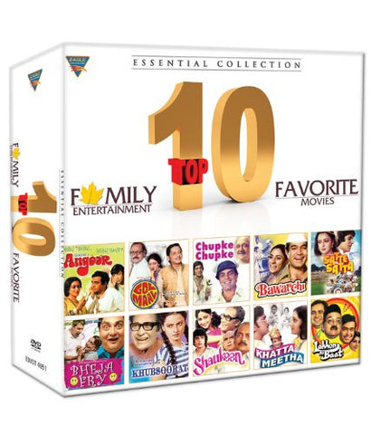 Buy Top 10 Favorite Movies Essential Collection (Set of 10 DVDs- Angoor/Golmaal/Chupke Chupke/Bawarchi/Satte Pe Satta/Bheja Fry/Khuboosrat/Shaukeen/Khatta Meetha/Lankhon Ki Baat) online for USD 31.88 at alldesineeds