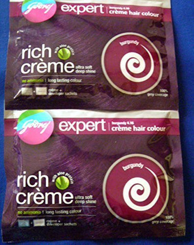 2 X Godrej Expert Creme Hair Color No Ammonia with Aloe Protein Burgundy