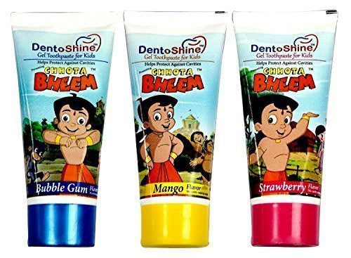 Chhota Bheem Dento Shine Gel Toothpaste For Kids - Pack Of 3 Flavors 80 gms e... - alldesineeds
