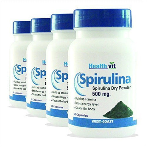 Buy 4 x Healthvit Spirulina 60 Capsules (Total 240 capsules) online for USD 23.76 at alldesineeds