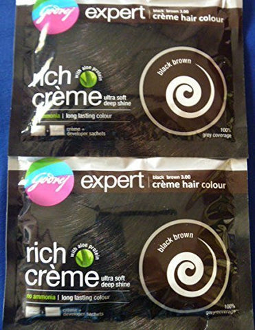 2 Godrej Expert Creme Hair Color No Ammonia with Aloe Protein Black Brown