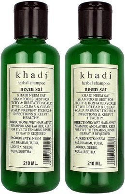Buy 2 X Khadi Herbal Neem Sat Shampoo Pack of 2(210 Ml) online for USD 15.99 at alldesineeds