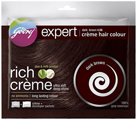 Buy Godrej Expert Creme Hair Colour Dark Brown 20g+20ml online for USD 11.86 at alldesineeds