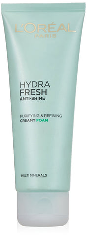L'Oreal Paris Hydra fresh Anti-Shine Purifying and Refining Creamy Foam, 100ml