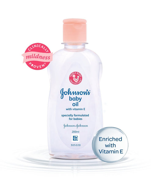 Johnson's Baby Oil with Vitamin E (200ml) - alldesineeds