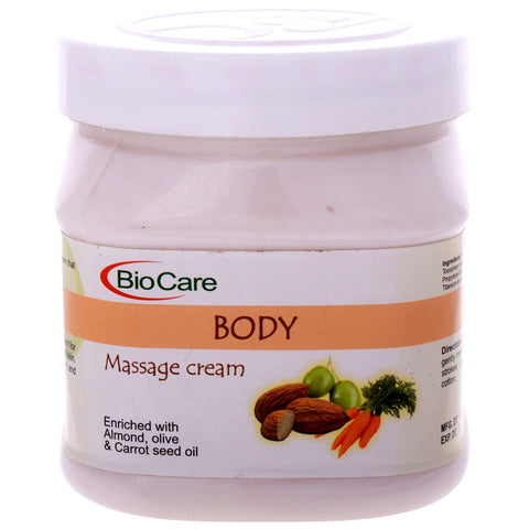 Biocare Body Massage Cream Enriched With Alomnd, Olive & Carrot Seed Oil, 500Ml - alldesineeds