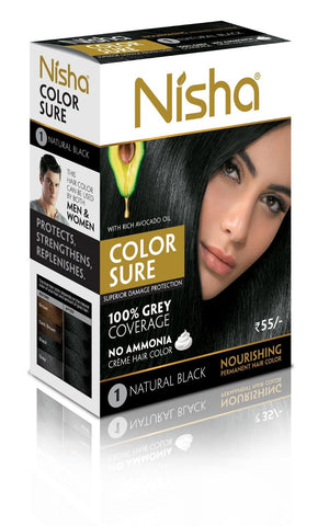 Buy 4 Pack Nisha Color Sure Hair Color (80gms each, natural-black) online for USD 15.5 at alldesineeds