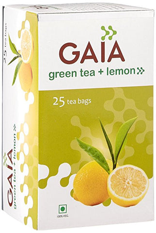 Gaia Green Tea + Lemon 25 Tea Bags