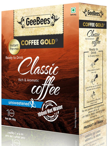 GeeBees Coffee Gold Instant Premix Coffee Unsweetened, 80g - alldesineeds