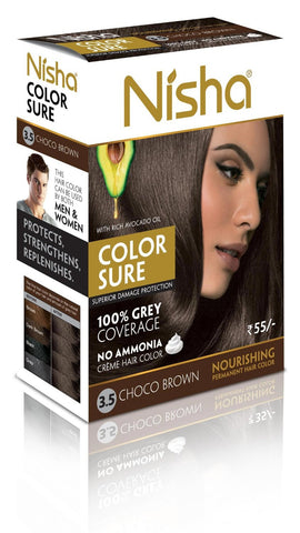 Buy 4 Pack Nisha Color Sure Hair Color (80gms each, choco-brown) online for USD 15.5 at alldesineeds