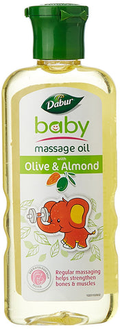 2 Pack Dabur Baby Massage Oil with Olive and Almond (100ml)