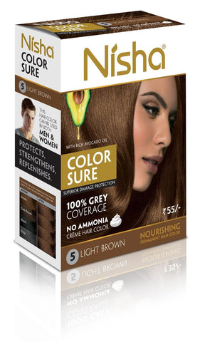 Buy 4 Pack Nisha Color Sure Hair Color (80g each, light-brown) online for USD 15 at alldesineeds