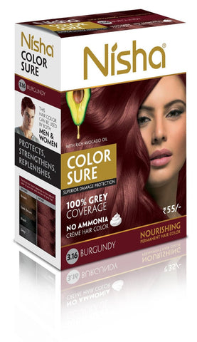 Buy 4 Pack Nisha Color Sure Hair Color (80gms each, Burgundy) online for USD 15.5 at alldesineeds