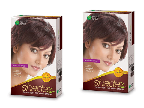 Buy 2 Pack Shadez Permanent Hair Color Cream, Burgundy 50gms each online for USD 9.99 at alldesineeds