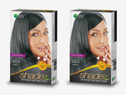 Buy 2 Pack Shadez Permanent Hair Color Cream, Natural Black 50gms each online for USD 8.95 at alldesineeds