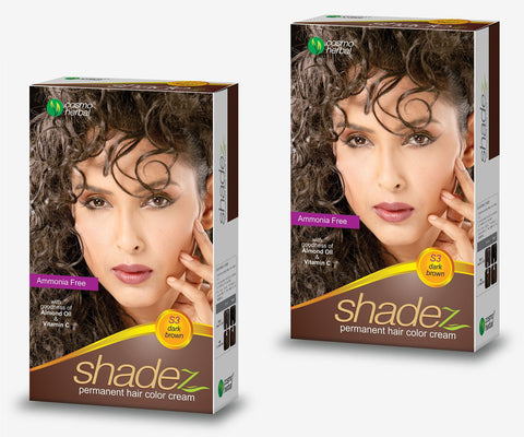 Buy 2 Pack Shadez Permanent Hair Color Cream, Dark Brown 50gms each online for USD 8.95 at alldesineeds