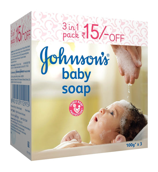 Johnson's Baby Soap 100g (Pack of 3) - alldesineeds