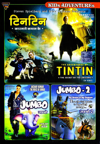 Buy Kids Adventures (Set of 3 DVDs- Tintin the Secret of the Unicorn/Jumbo/Jumbo - 2) online for USD 16.28 at alldesineeds
